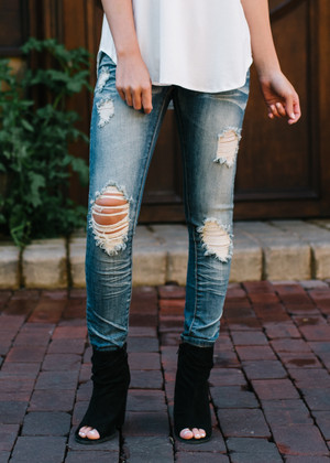 Medium Washed Machine Distressed Jeans