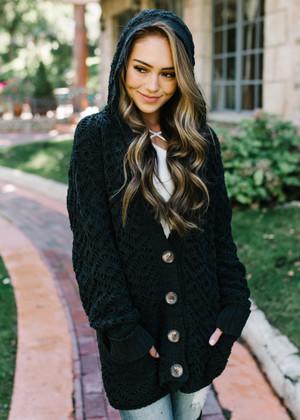 Caught The Feels Crochet Knit Hooded Cardigan Black