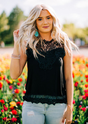 Lace of Love Contrast Tank Top Black