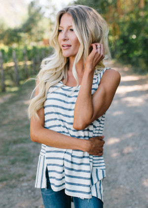 Open Your Eyes Striped Tank Charcoal/Ivory