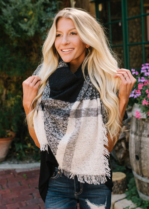Seeing Forever Plaid Fringed Blanket Scarf Black/Blue