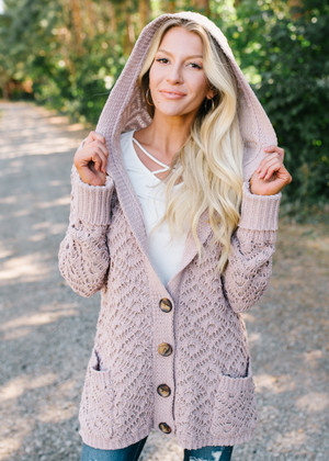Caught The Feels Crochet Hooded Knit Cardigan Mauve