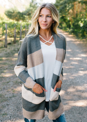 Homesick For You Striped Comfy Cardigan CLEARANCE