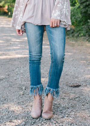 Medium Wash Fringe Frayed Crop Bottom Jeans