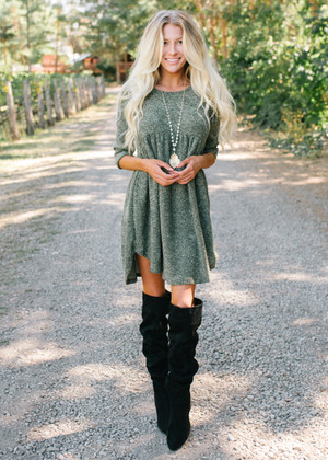 The New Girl In Town Soft Babydoll Dress Olive