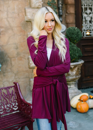 Laid Back Tie Cardigan Rich Burgundy CLEARANCE