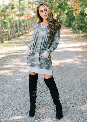 Never Gonna Stop Camo Sweater Tunic Dress CLEARANCE