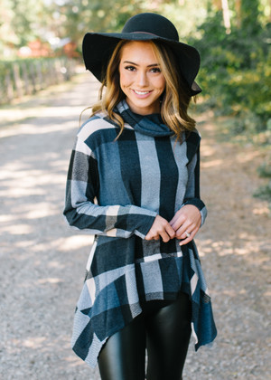 Take Me To A Happy Place Plaid Cowl Neck Top Navy