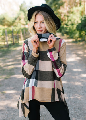 Take Me To A Happy Place Plaid Cowl Neck Top Taupe