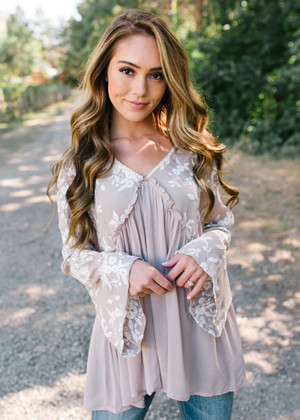 Beautiful To Me Belle Sleeve Lace Top Mocha