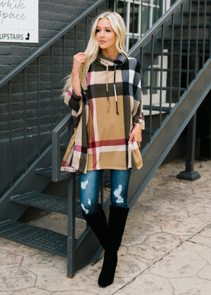 One Day At A Time Cowl Neck Plaid Poncho Taupe