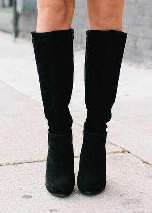 Hide Away Suede Heeled Boots Black