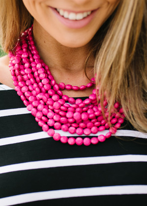 Layers Of Fun Beaded Necklace Fuchsia