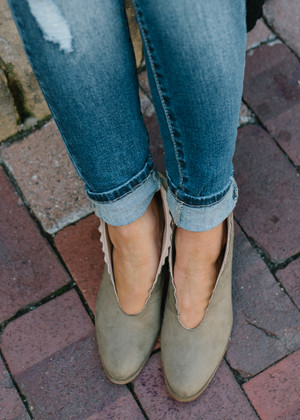 Stay True Scalloped Detail Booties Olive CLEARANCE