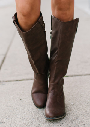 Where It All Began Tall Riding Boots Brown CLEARANCE