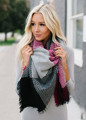 Must Have Checkered Plaid Blanket Scarf Magenta
