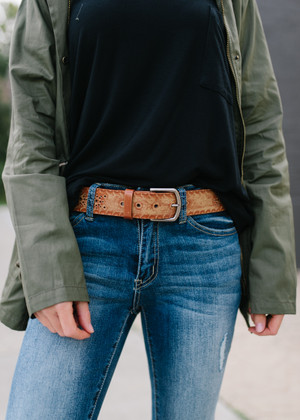 That's Where It's At Vintage Western Belt Tan