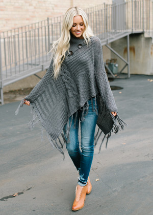 Here In My Arms Knit Button Poncho Gray