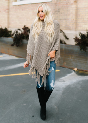Here In My Arms Knit Button Poncho Mocha
