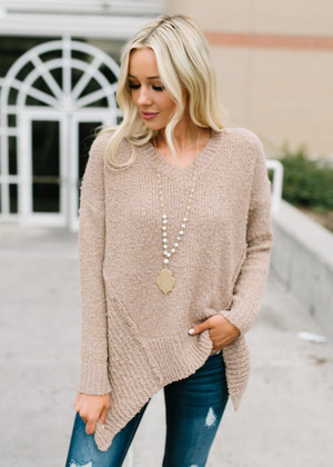 Solid Asymmetrical High Low Sweater Top Camel