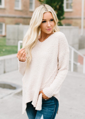 Solid Asymmetrical High Low Sweater Top Oat