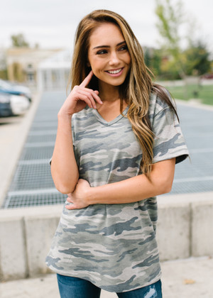 French Terry Camo Basic Top