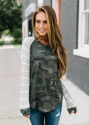 Don't Be Lonely Camo And Stripes Thermal Top CLEARANCE