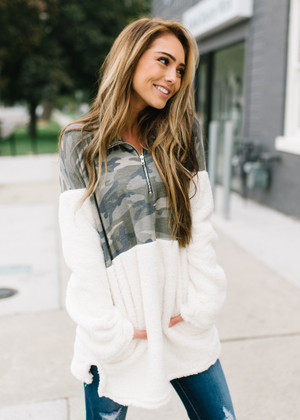 Break Up In The End Cozy Camo Oversized Sweatshirt CLEARANCE