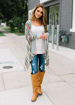 Give You My Best Shot Multi Color Striped Cardigan