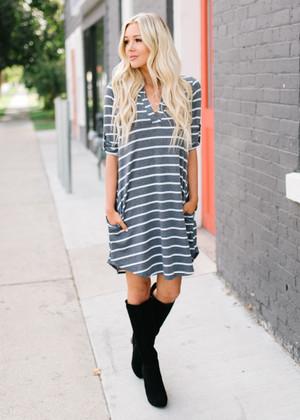 A Little Stronger Striped Dress Charcoal