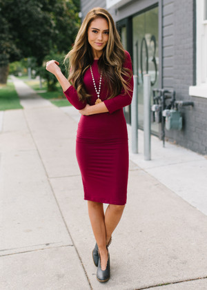 Hour Glass Layering 3/4 Sleeve Midi Dress Burgundy
