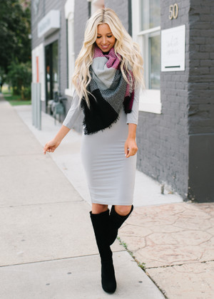 Hour Glass Layering 3/4 Sleeve Midi Dress Gray