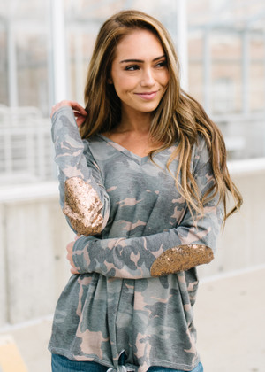She's Doing Just Fine Sequin Elbow Patch Tie Camo Top