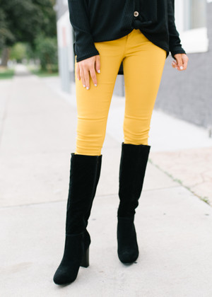 Basic Plain Skinny Jeans Sunflower Yellow