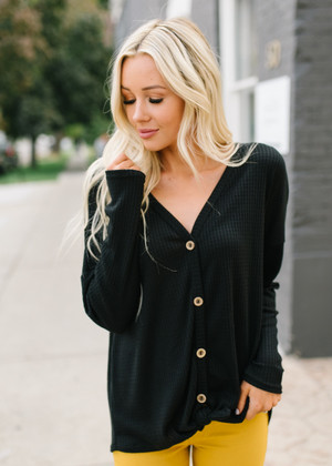 Stop Staring Thermal Button Up Top Black