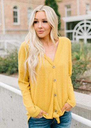 Stop Staring Thermal Button Up Top Mustard