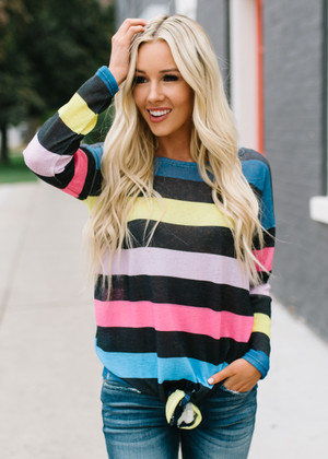 Good Time Colorful Striped Tie Top