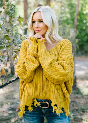 Up For Grabs Chunky Knit Fringe Sweater Top Mustard