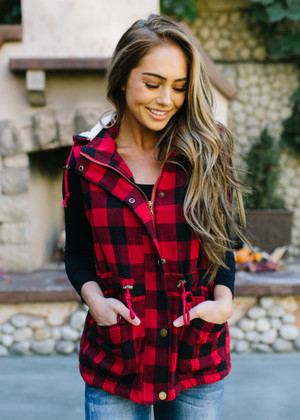 Fur Lined Buffalo Plaid Hooded Vest