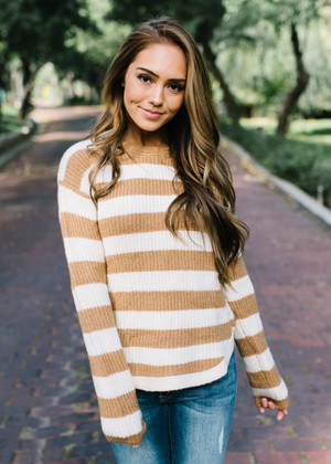 Looking Forward Striped Knit Sweater Top Camel