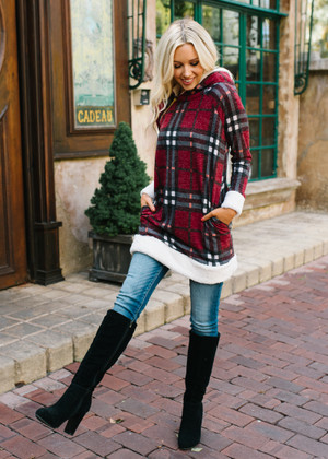 Modern Day Belle Plaid Fuzzy Hoodie Burgundy CLEARANCE