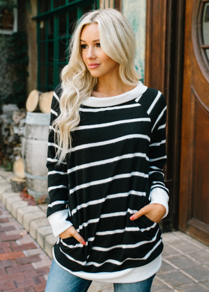 You Are A Winner Striped Sweater Tunic Top Black