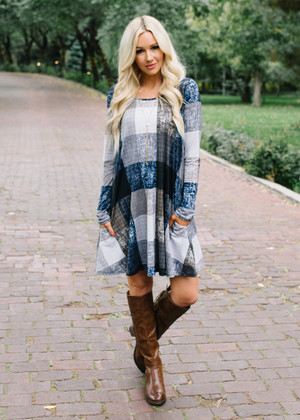 Aim To Be The Best Plaid Dress Navy