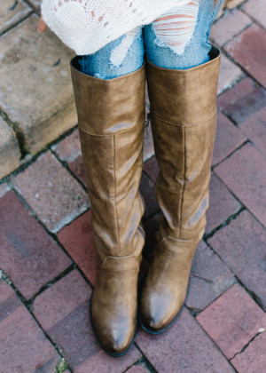 Break Away Lace Up Back Riding Boots Tan