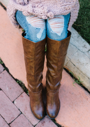 Break Away Lace Up Back Riding Boots BROWN
