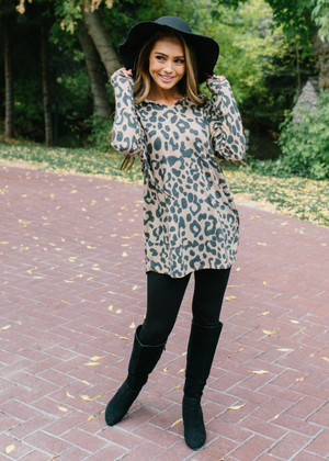 Make A Change Leopard Tunic Hoodie Top