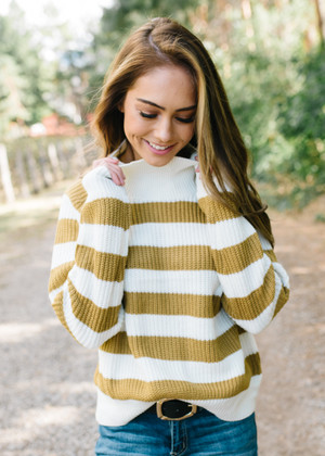 Chain Reaction Striped Turtleneck Sweater Top Mustard