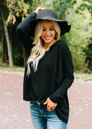 Beautiful Thoughts Luxe Sweater Dolman Top Black