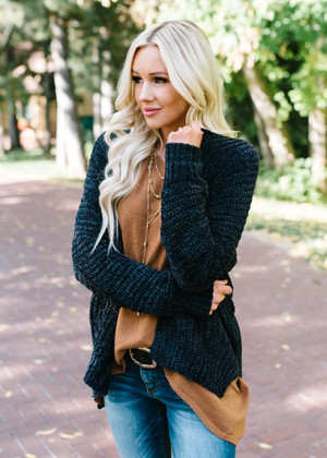 Take Every Chance Cozy Textured Cardigan Black