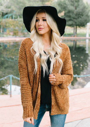 Take Every Chance Cozy Textured Cardigan Cinnamon